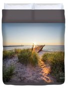 Sunset Over Dunes And Pier Duvet Cover