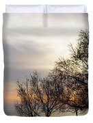 Sunset Scene Of Tree Branches And People Silhouettes Duvet Cover