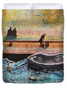 Sunset Scenery By Amsterdam Canal Duvet Cover