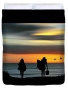 Surfer Girls Silhouette Duvet Cover