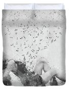 Sweet Jenny Bursting With Music In Black And White Duvet Cover by Nikki Marie Smith