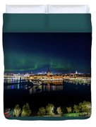 Swirly Aurora Over Stockholm And Gamla Stan Duvet Cover