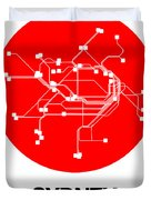 Sydney Red Subway Map Duvet Cover