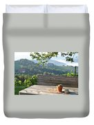 Table At The Vineyard Duvet Cover