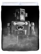 Take Me To Your Leader Vintage Tin Toy Robot Black And White Duvet Cover