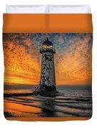 Talacre Beach Lighthouse Sunset Duvet Cover