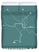 Teal Washington, D.c. Subway Map Duvet Cover