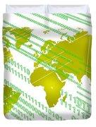 Tech Worldmap With Binary Code Duvet Cover