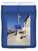 Tel-aviv Jaffa Road Sign Duvet Cover