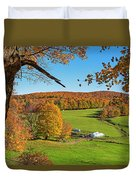 Tending To The Farm Woodstock Vermont Vt Vibrant Autumn Foliage Yellow And Orange Duvet Cover