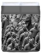 Terra Cotta Warriors In Black And White, Xian, China Duvet Cover