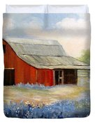 Texas Blue Bonnets And Red Barn Duvet Cover