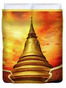 Thai Temple Sunset Duvet Cover by Adrian Evans