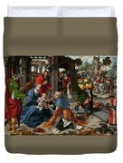 The Adoration Of The Magi With Donor  Duvet Cover