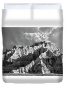 The Badlands In Black And White Duvet Cover