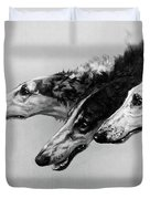 The Borzois, Black And White Sketch, 3 Russian Wolfhounds Duvet Cover