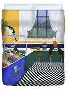The Cat Cafe Duvet Cover by Karen Zuk Rosenblatt