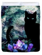 The Cat With Aquamarine Eyes And Celestial Crystals Duvet Cover