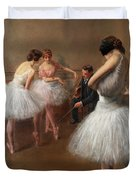 The First Pose, The Ballet Lesson Duvet Cover