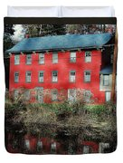 The Red House Along The Autumn Canal Duvet Cover