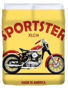The Vintage Sportster Motorcycle Duvet Cover by Mark Rogan