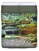 The Waterfall In Old Man's Cave Hocking Hills Ohio Duvet Cover
