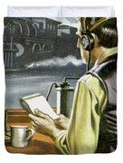 Thomas Edison, The Railway Telegraphist  Duvet Cover