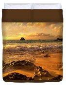 Thoughtful Morning Golden Coastal Paradise  Duvet Cover