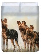 Three African Wild Dogs Duvet Cover
