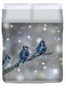 Three Blue Jays In The Snow Duvet Cover