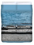 Three Gulls On A Log Duvet Cover