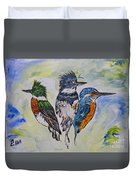 Three Kingfisher Birds - Painting By Ella Duvet Cover