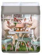 Three Little Pigs And The Birthday Cake Duvet Cover
