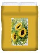 Three Sunflowers Duvet Cover by Asha Sudhaker Shenoy