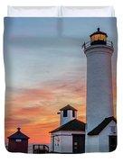 Tibbetts Point Light At Sunset Duvet Cover