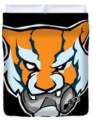 Tiger Head Bitting Beer Can Orange Duvet Cover