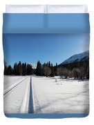 Tire Tracks In Snow In An Isolated Area Of The Kenai Peninsula Duvet Cover