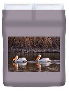 To Pelicans Trolling For Fish Duvet Cover