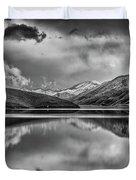 Topaz Lake Winter Reflection, Black And White Duvet Cover