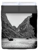 Touring Ha Long Bay Row Boats People Bw Duvet Cover