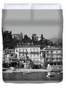 Town In The Shore Of Lake Como In Black And White Duvet Cover