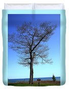 Tree And Great Lake Duvet Cover