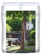 tree lamp and old water pump in Cochem Germany Duvet Cover