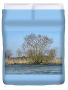 Tree On Frozen Lake Duvet Cover