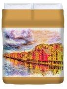 Trondheim - Waterfront Evening Duvet Cover