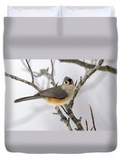 Tufted Titmouse Winter Tranquility Duvet Cover
