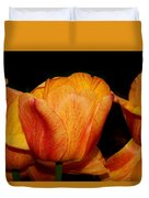 Tulips On A Black Background Duvet Cover
