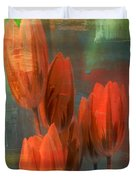Tulips With Green Background Duvet Cover