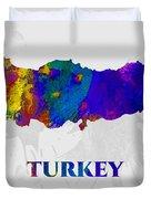 Turkey, Map, Artist Singh Duvet Cover