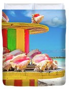 Turks And Caicos Conchs On A Spool Duvet Cover
